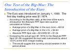 one test of the big mac the introduction of the euro