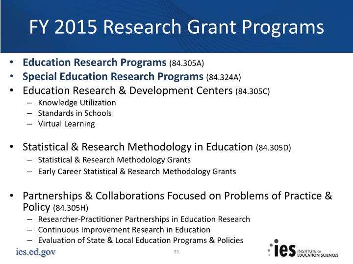 FY 2015 Research Grant Programs