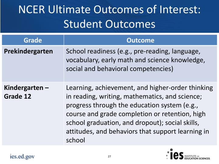 NCER Ultimate Outcomes