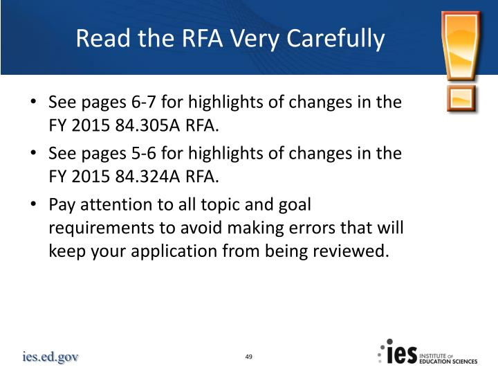Read the RFA Very Carefully
