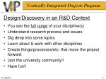 design discovery in an r d context