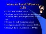 interaural level difference ild
