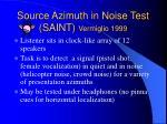 source azimuth in noise test saint vermiglio 1999