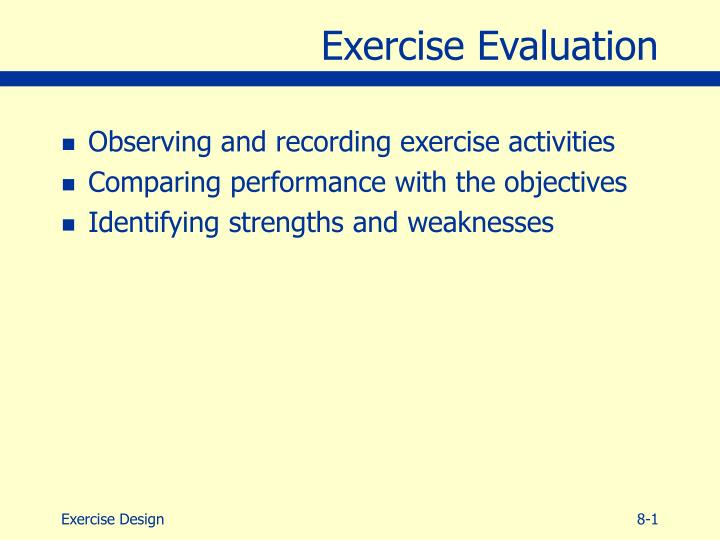 exercise evaluation n.