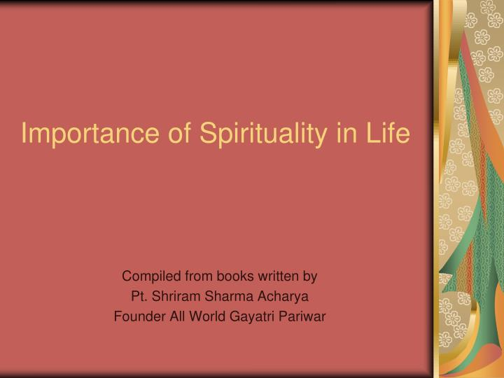 importance of spirituality in life n.