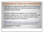 transactional data for transferring