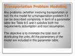 transportation problem modeling