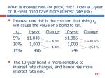what is interest rate or price risk does a 1 year or 10 year bond have more interest rate risk
