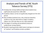 analysis and trends of nc youth tobacco survey yts