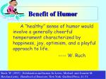 benefit of humor