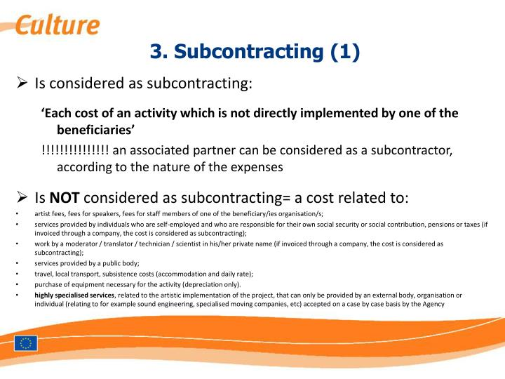 3 subcontracting 1 n.