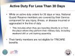 active duty for less than 30 days