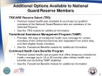 additional options available to national guard reserve members