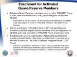 enrollment for activated guard reserve members