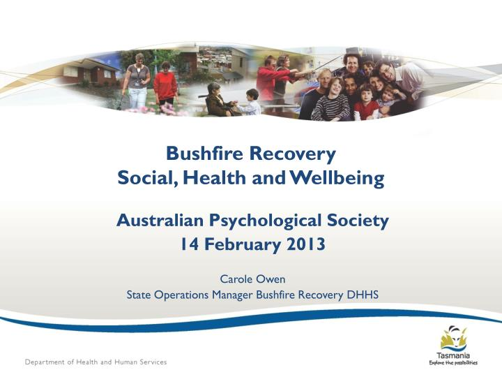 bushfire recovery social health and wellbeing n.