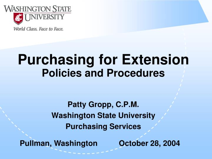 purchasing for extension policies and procedures n.