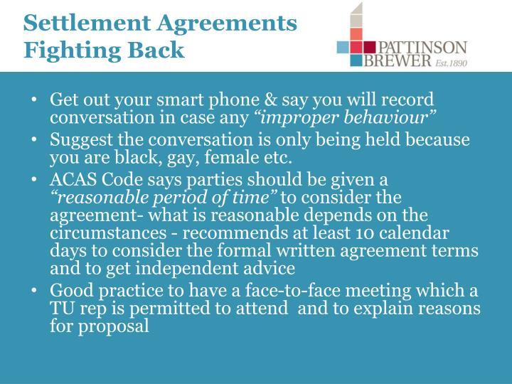Settlement Agreements Fighting Back