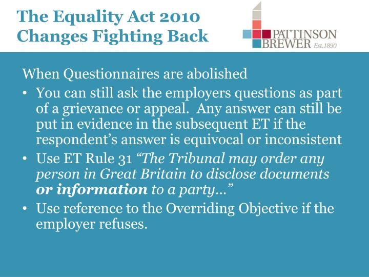 The Equality Act 2010 Changes Fighting Back