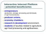 interactive internet platform potential beneficiaries