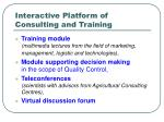 interactive platform of consulting and training