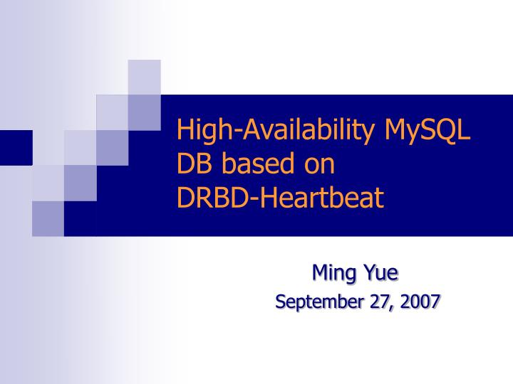high availability mysql db based on drbd heartbeat n.
