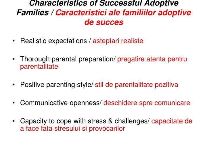 Characteristics of Successful Adoptive Families /