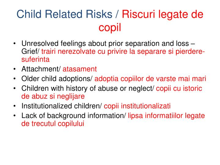 Child Related Risks /