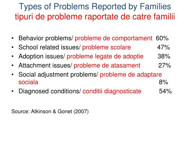 Types of problems reported by families tipuri de probleme raportate de catre familii