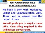 your apprehension no 2 i can t do marketing job