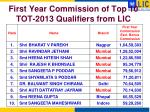 first year commission of top 10 tot 2013 qualifiers from lic