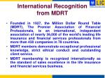 international recognition from mdrt