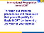 international recognition from mdrt2