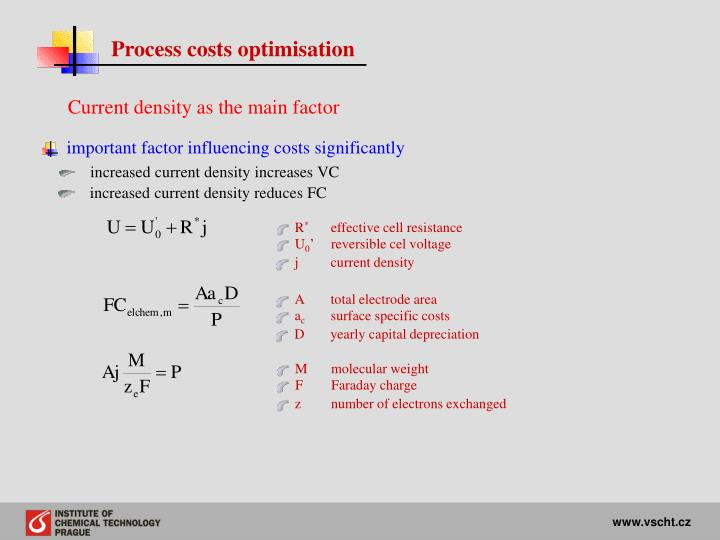 Process costs optimisation