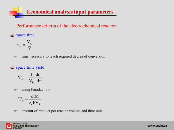 Economical analysis input parameters