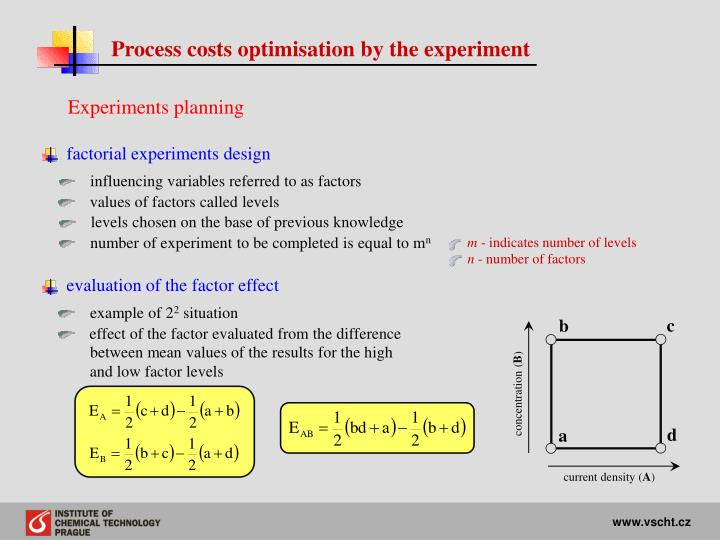 Process costs optimisation by the experiment