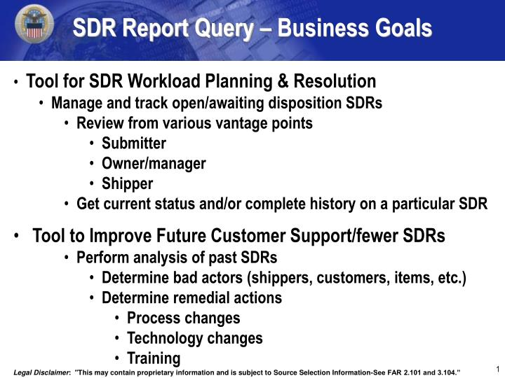 sdr report query business goals n.