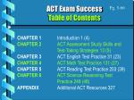 act exam success table of contents