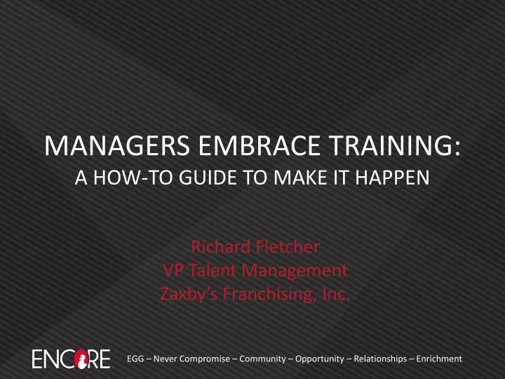 managers embrace training a how to guide to make it happen n.