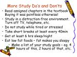 more study do s and don ts