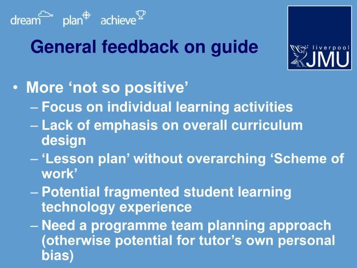 General feedback on guide