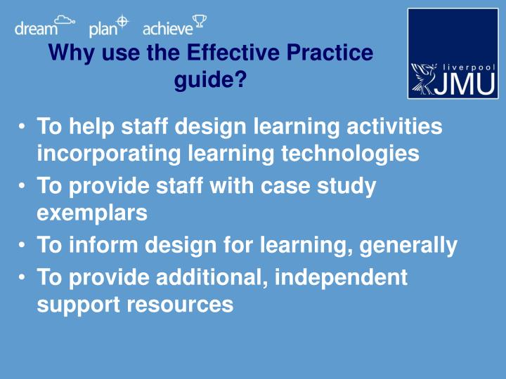 Why use the Effective Practice guide?