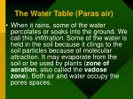 the water table paras air