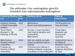 om skillnader i hur rankinglistor g rs en verblick ver internationella rankinglistor