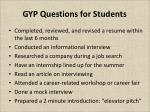 gyp questions for students