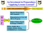 an investment in preparedness applying lessons learned