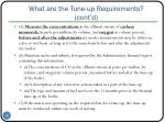 what are the tune up requirements cont d
