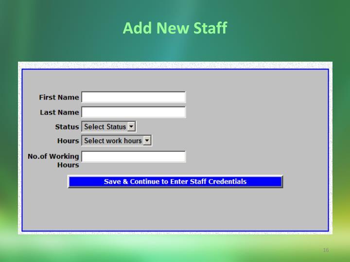 Add New Staff