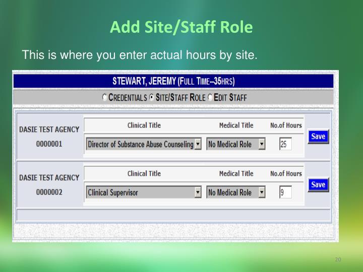 Add Site/Staff Role