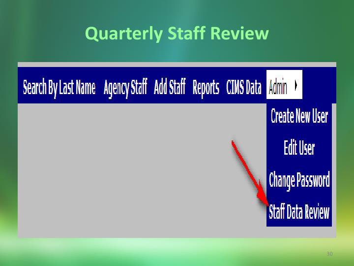 Quarterly Staff Review