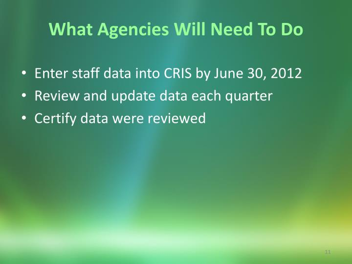 What Agencies Will Need To Do